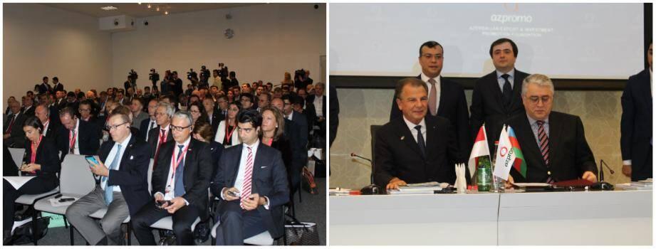 Devant plus d'une centaine de chefs d'entreprise, Michel Dotta, le président du MEB, a signé deux accords de coopération avec des organismes azéris, sous les yeux du vice-ministre de l'Economie d'Azerbaïdjan (derrière lui à gauche).