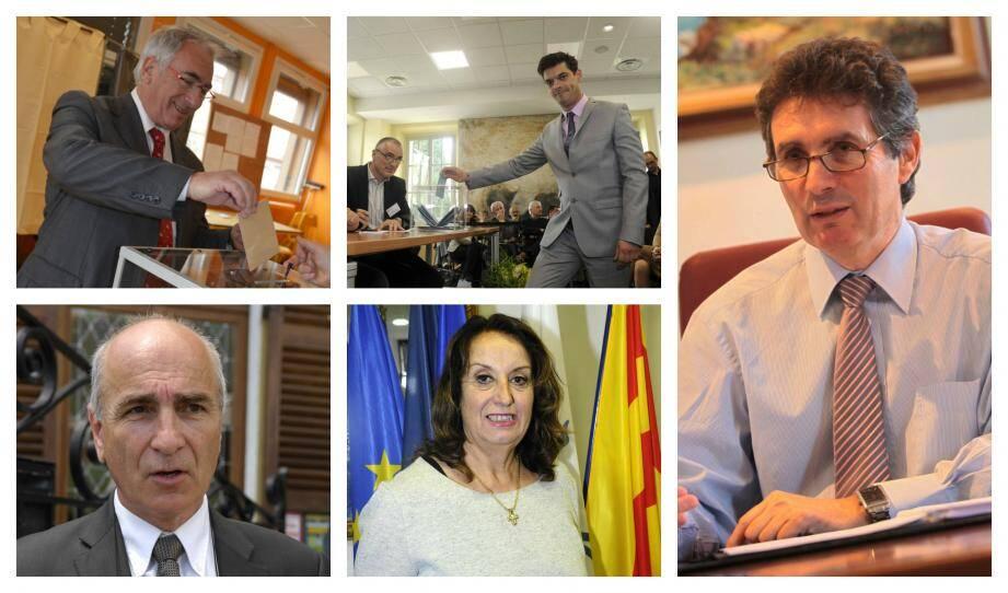 De gauche à droite, de haut en bas : Gérard Delhomez, maire de Peymeinade ; Jérôme Viaud, maire de Grasse ; Gérald Lombardo, maire du Rouret ; Richard Ribero, maire du Bar-sur-Loup et Michèle Olivier, maire d'Andon.