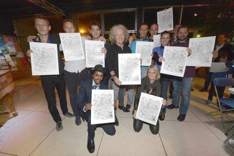 Lors de la soirée post-marathon de New York à l'ECA 500, Kristian a offert un dessin dédicacé aux 55 coureurs de GANY.