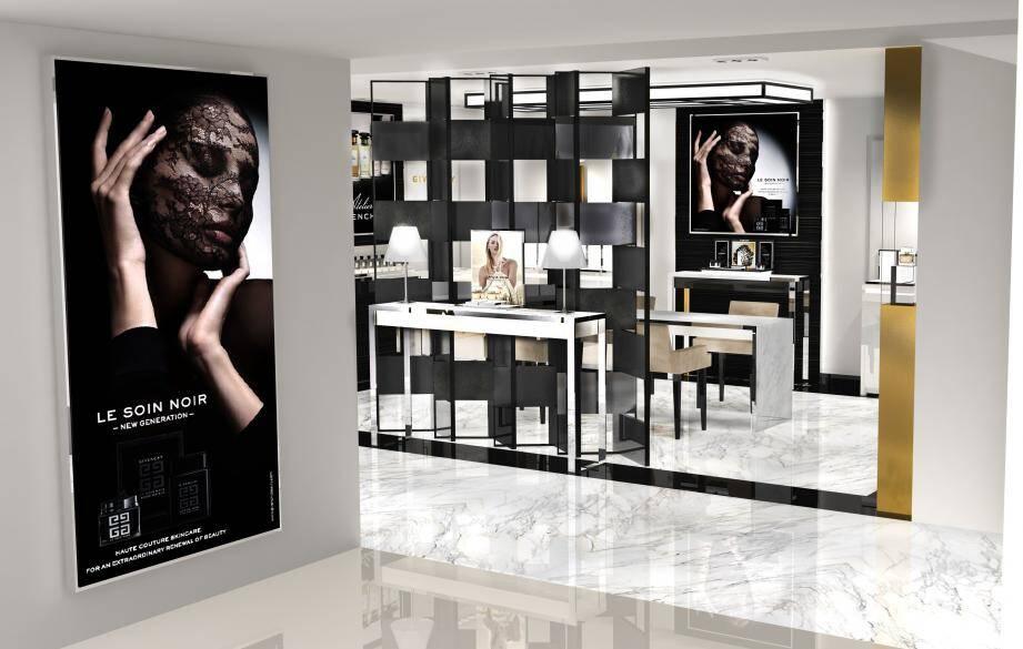 Premières vues d'architecte de l'établissement qui sera dans les tons de la marque : noir, blanc et platine. Ci-dessous, l'intérieur d'une cabine de soins, dans une ambiance détente.(DR)