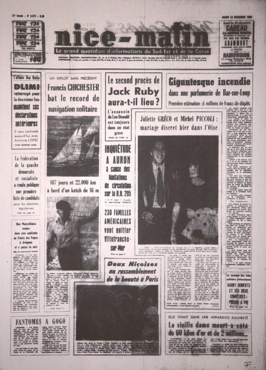 A la « Une » de Nice-Matin du 13 décembre 1966 : l'union de Juliette Gréco et de Michel Piccoli donne une touche de glamour au réveil des Français.(Repro DR)