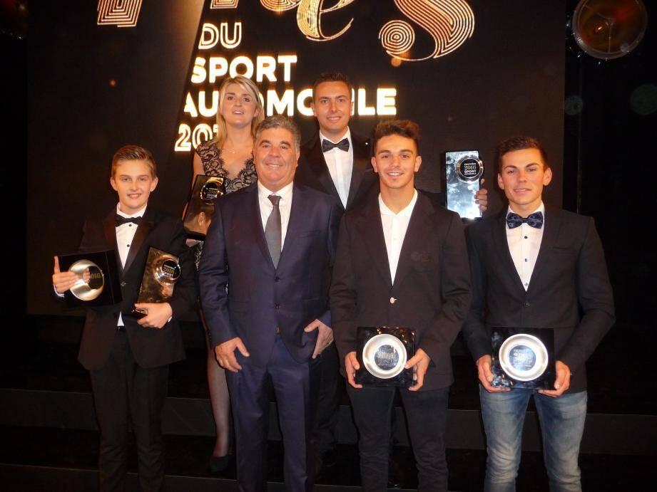 Des trophées amplement mérités pour Théo Pourchaire, Charlotte Dalmasso, Loïc Astier, Dorian Boccolacci et Cyril Raymond, accueillis à Paris par Rémi Tosello.