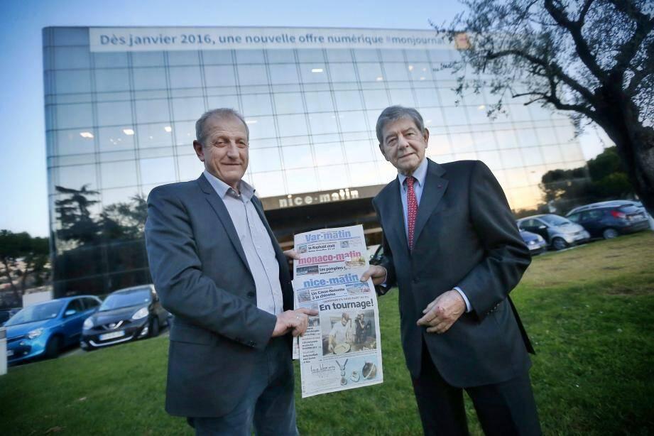 Jean-Marc Pastorino, président du directoire du groupe Nice-Matin, et Philippe Delaunois, administrateur délégué du groupe Nethys.