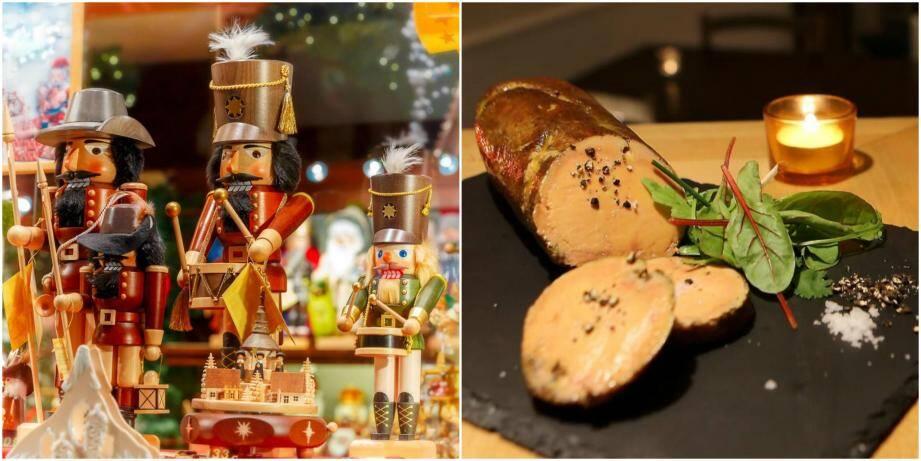 Foie gras et jouets de Noël.
