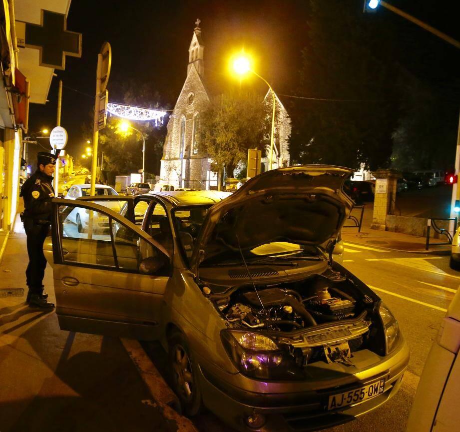 Le véhicule suspect ce samedi soir.