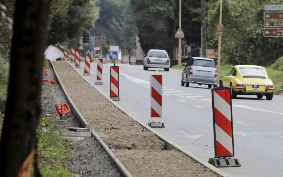 La route de Vence en travaux en novembre.