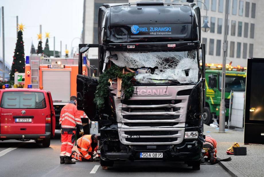 Le camion qui a dévasté le marché de Noël à Berlin.