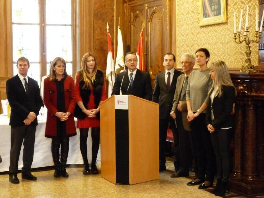 Entouré d'une partie des élus du conseil communal, le maire Georges Marsan a présenté ses vœux à la presse hier matin.