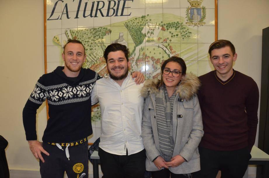 (De g. à dr.) Xavier Orefici, Romain Rigal, Laura Deriu, par ailleurs Miss La Turbie en titre, et Lilian Miquet constituent le nouveau bureau de l'AJT.