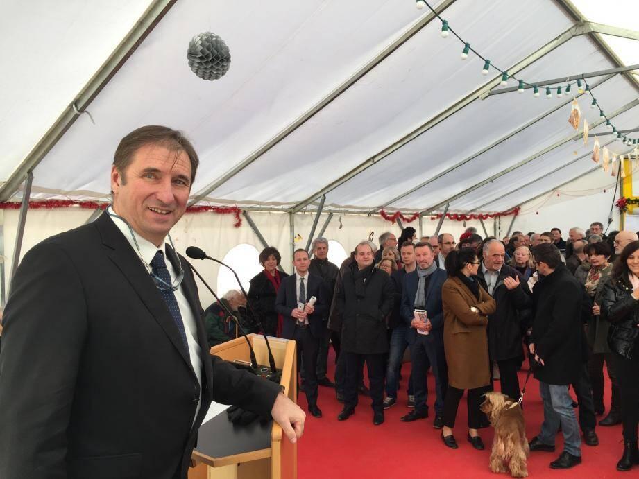 Le maire de Tourtour Pierre Jugy ici lors de ses vœux, il y a quelques semaines, en présence de David Rachline.