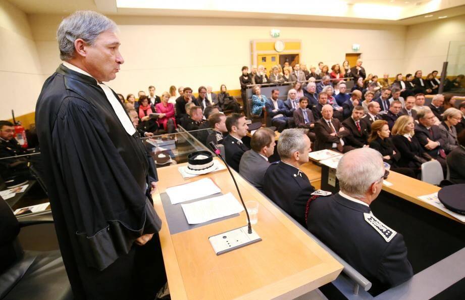 Le procureur général Jean-Michel Prêtre lors de la rentrée solennelle du TGI de Nice.