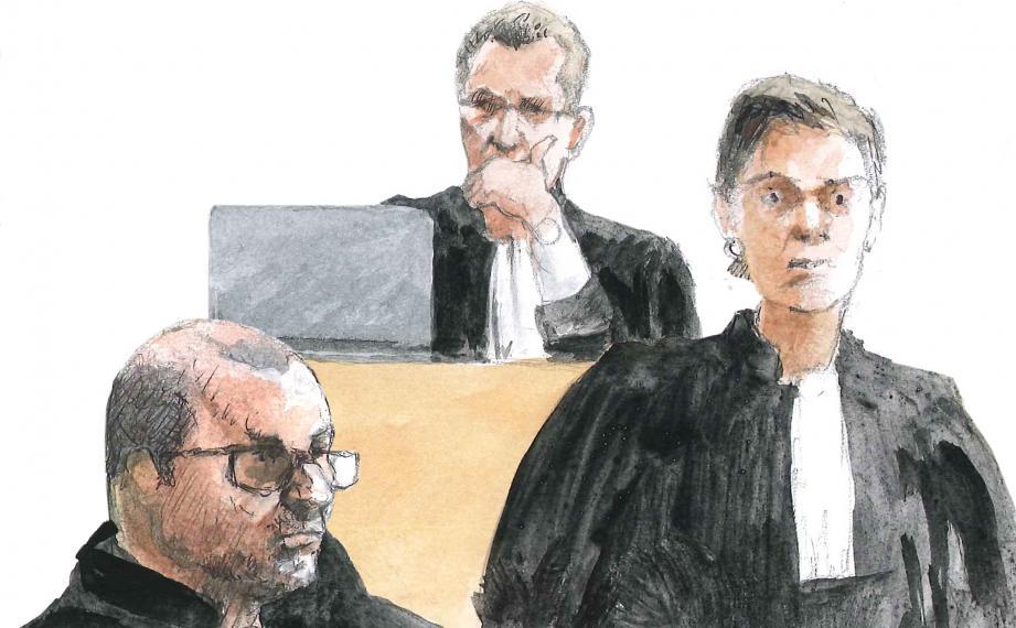 L'avocat général Pierre Arpaia a dit sa conviction qu'il s'agissait bien d'un meurtre.  Mes Didier Calandri et Caroline Ciccione ont plaidé pour les proches de la victime.(Croquis d'audience Rémi Kerfridin)