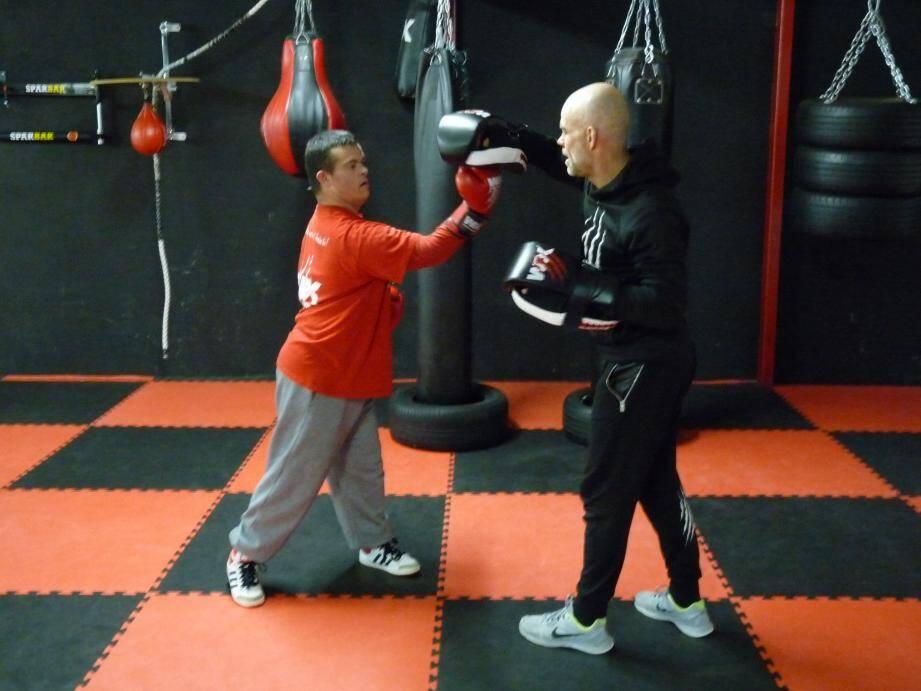 Les entraînements entre Christophe (à gauche) et David Schrive mêlent technique et intensité.