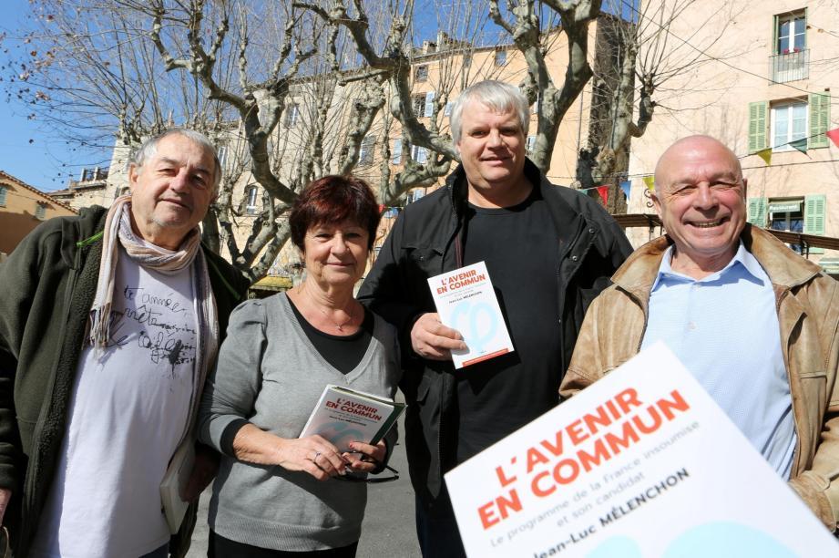 Christian Cauvy, Claude Mas, Yves Guillerault et Christian Mas s'engagent pour faire gagner Jean-Luc Mélenchon.