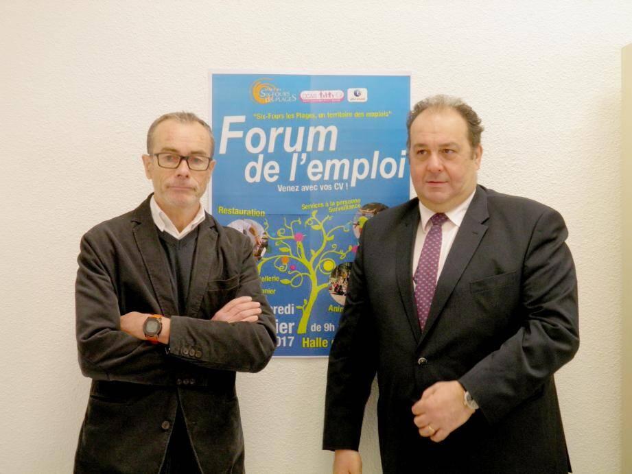 André Bideau, directeur de l'agence Pôle emploi, et Patrick Perez, président du CCAS, ont dépensé beaucoup d'énergie dans l'organisation de ce forum.