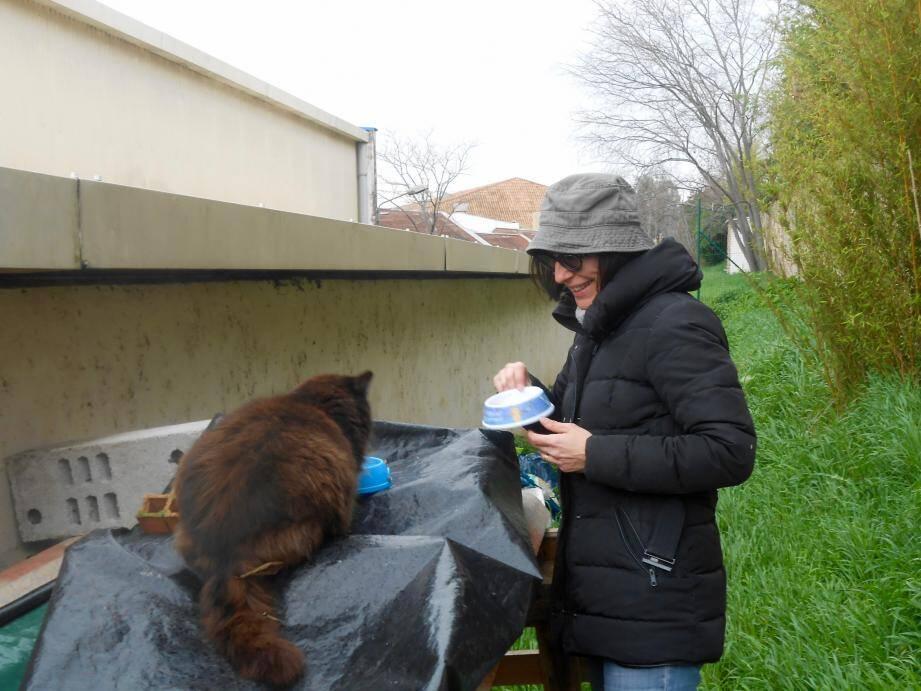 Corinne Gras, sur le point de nourrissage des chats que l'association protège.