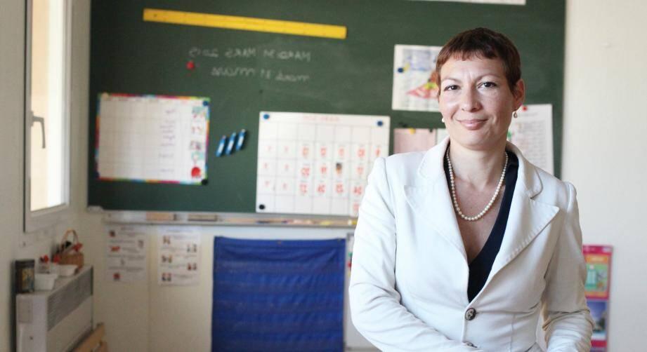 Vanessa Siegel dans sa classe à La Baronne: si elle est élue, elle demandera sa mise en disponibilité...