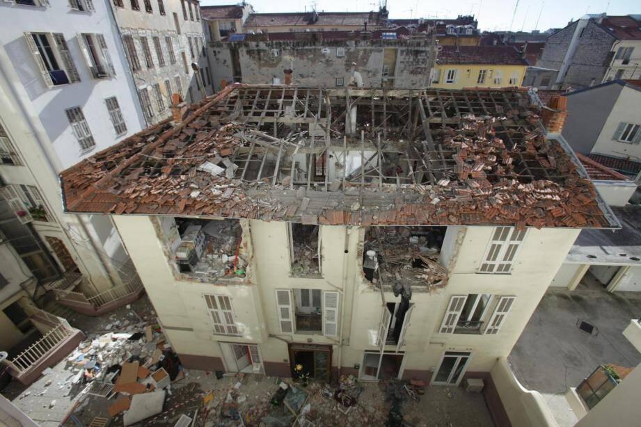 L'immeuble, après l'explosion.