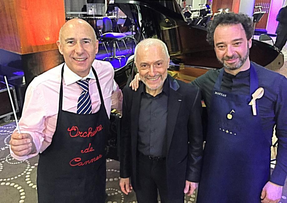 Les chefs Maryan Gandon à gauche et Benjamin Levy à droite avec le récitant Bernard Pisani ont exalté la Provence lors de ce concert gourmand.
