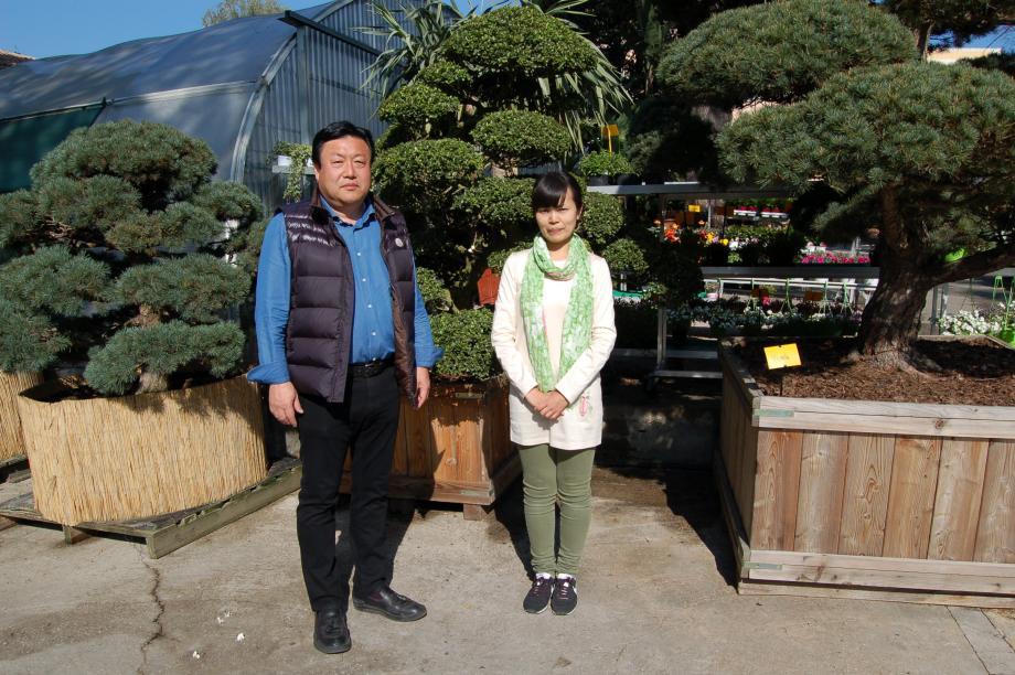 Shikegi Kangori et Chika Goto sont venus présenter treize arbres créés selon l'art ancestral japonais du Niwaki.