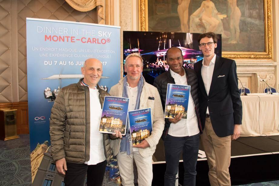 Trois chefs de la Principauté, Philippe Joannès, Paolo Sari et Marcel Ravin ont rejoint Jean-Christophe Goethals dans ce projet gastronomique et aérien.