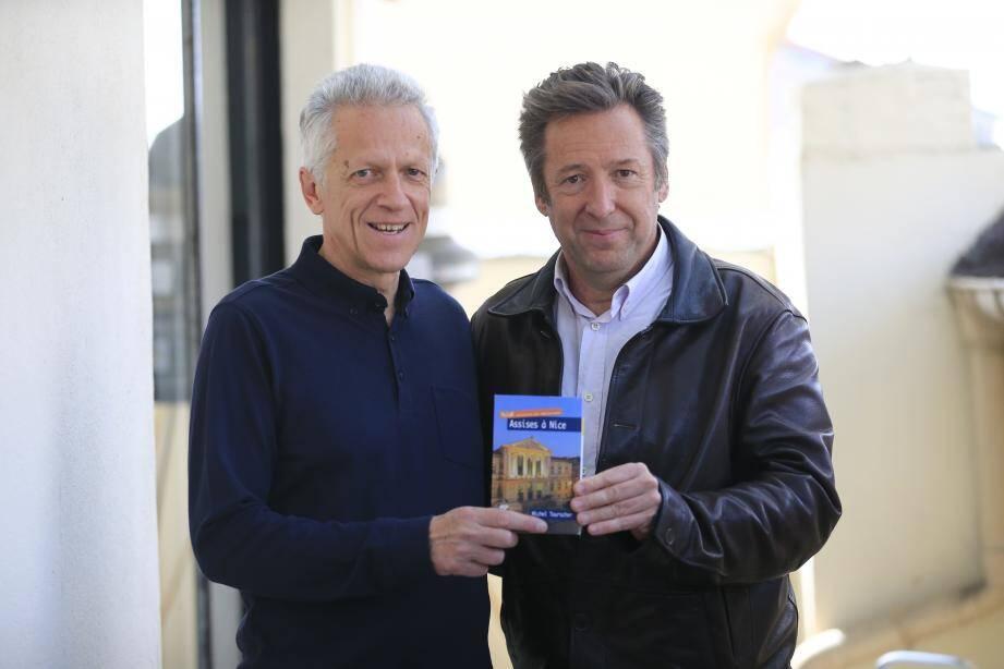 Michel Bounous et Michel Tourscher, complices sur fond de polar niçois à succès.