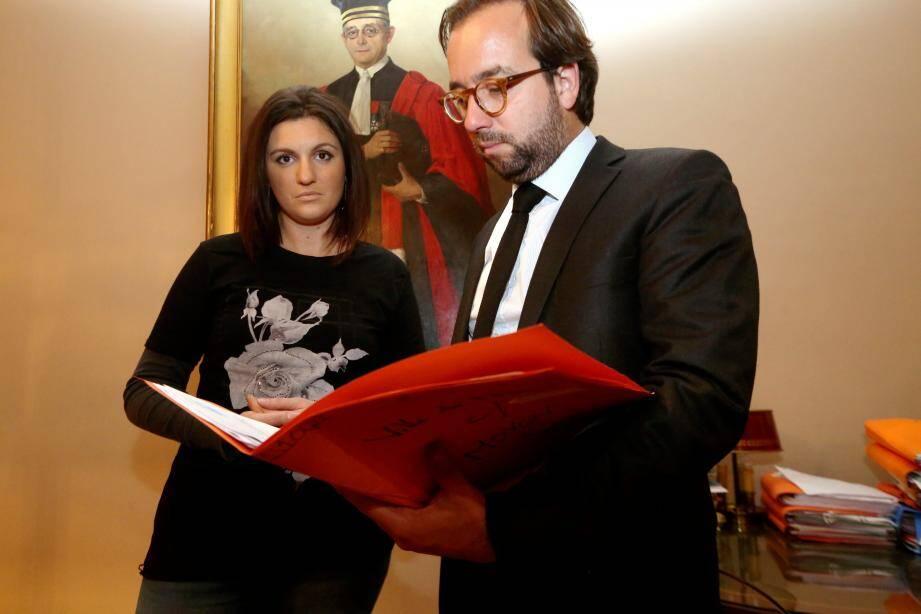 Sandra Bertin et son avocat, Me Adrien Verrier.