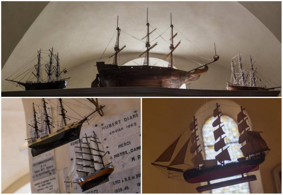 La chapelle de la Garoupe recèle de nombreuses maquettes de bateaux, des ex-voto minutieux dédiés à Notre-Dame-de-Bon-Port .