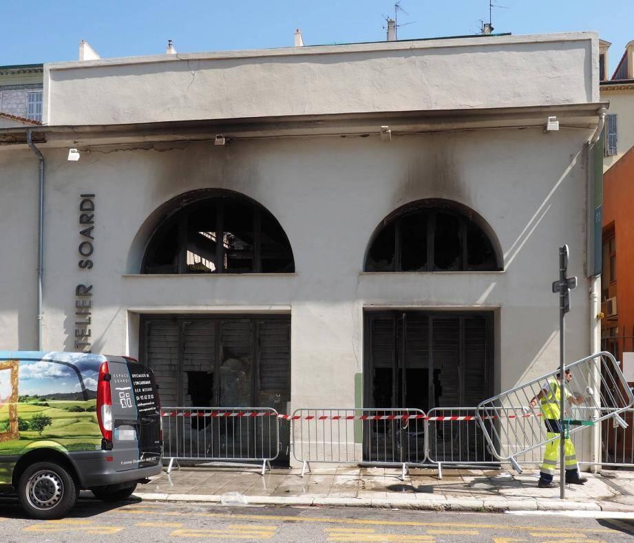 La galerie, après l'incendie du 2 août 2014.