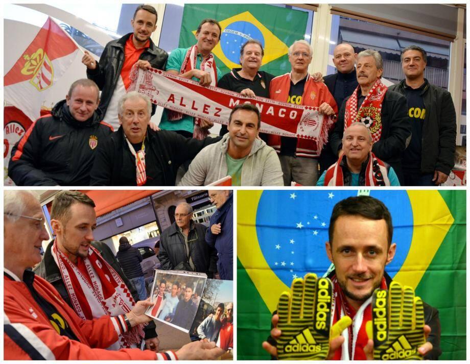 Nicolas Bianco (en haut à gauche) a ressorti les souvenirs de l'ASM : gants de Fabien Barthez et photo avec Marcelo Gallardo.
