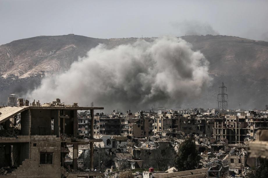 La banlieue Est de Damas, en Syrie, où les combats font rage entre les rebelles et les troupes du régime.
