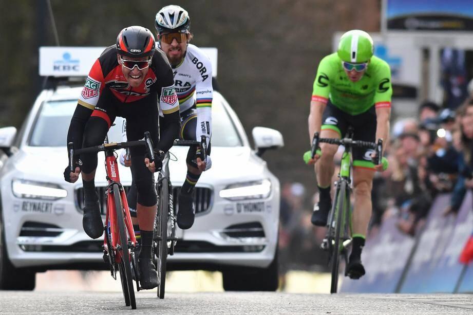 Cette saison, Greg Van Avermaet a déjà battu Peter Sagan au Het Nieuwsblad (ci-dessus) et à Gand-Wevelgem. Jamais deux sans trois ?