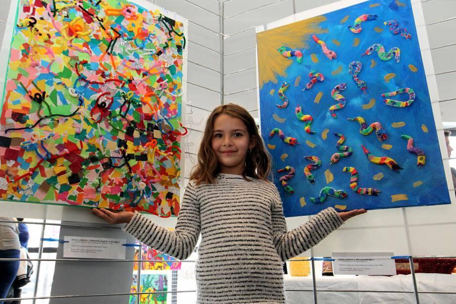 Ci-dessus : Maïlys, l'une des artistes en mouvement de l'école de la Fontonne exposés à la médiathèque. Ci-dessus à droite : Keith Haring et ses célèbres bonhommes colorés ont inspiré le le petit Liam.