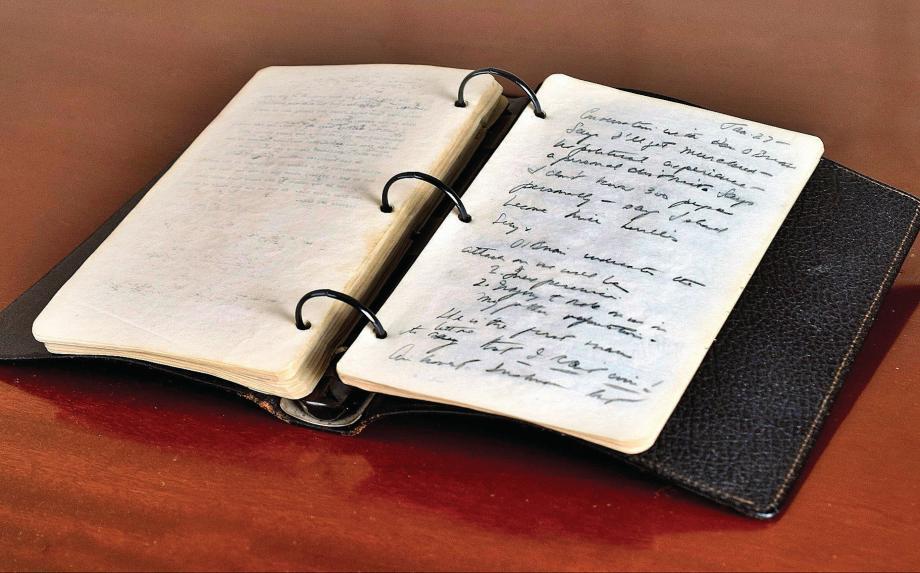 Journal intime de John F. Kennedy, rédigé en 1945 et mis aux enchères le 26 avril à Boston.