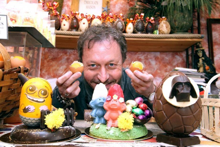 Minions, Schtroumpfs, Dark Vador font partie du monde des merveilleux héros, version chocolatée, de Jean-Patrice Paci. Un artisan-artiste qui sait sortir de sa coquille pour enchanter les papilles…