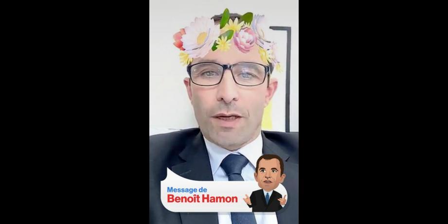 Benoît Hamon sur Snapchat.