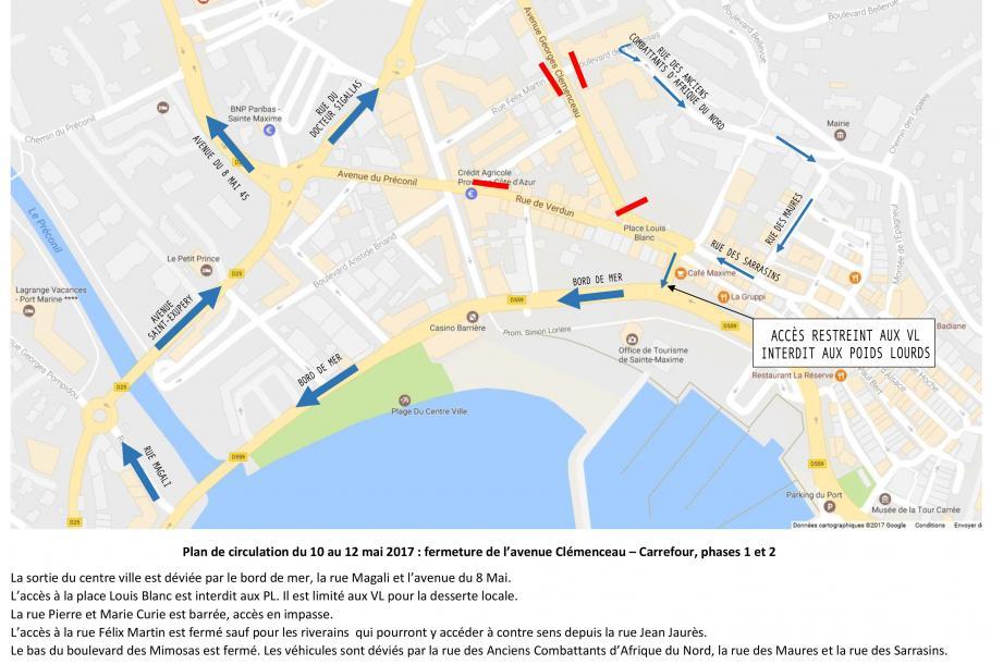 La sortie centre-ville est déviée par le bord de mer et la rue Magali. L'accès à la place Louis-Blanc est interdit aux poids-lourds et limité aux véhicules pour la desserte locale. La rue Curie est barrée. L'accès à la rue Félix-Martin est fermé sauf aux riverains avec accès en contre-sens depuis l'avenue Jaurès. Le bas du boulevard des Mimosas est fermé. La déviation se fait par la rue des Anciens Combattants d'Afrique du Nord.