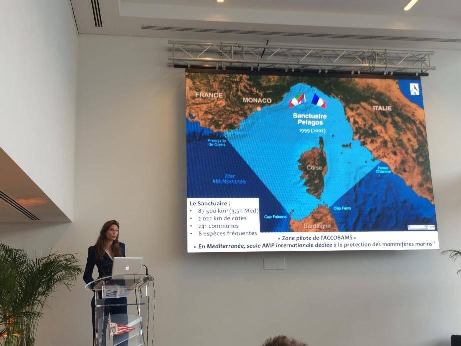 Fanny Dubois a présenté la zone en rappelant que, confiée à la France, la présidence de Pelagos sera donnée à Monaco à la fin de l'année.