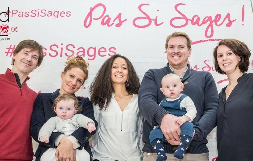 Jasmine Idir, fondatrice de l'association Pas si sages!, entourée de deux familles qu'elle a accompagnées (Jeff Veuillet pour Soundradio06)