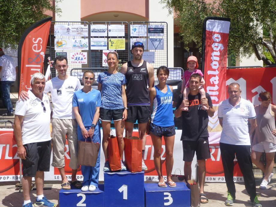 Les podiums Hommes et Femmes du 15km.