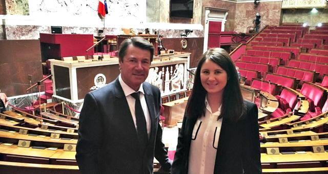 Christian Estrosi et Marine Brenier au palais Bourbon.
