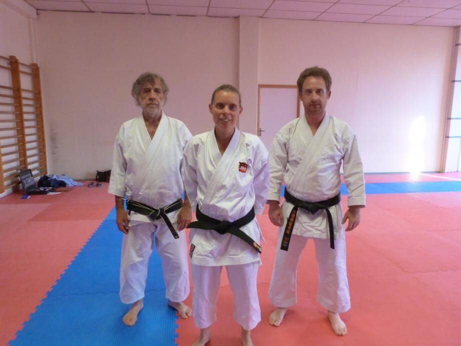Sandra Dufour, mardi à l'entraînement, aux côtés de Julien Zambon et Max Pontier.