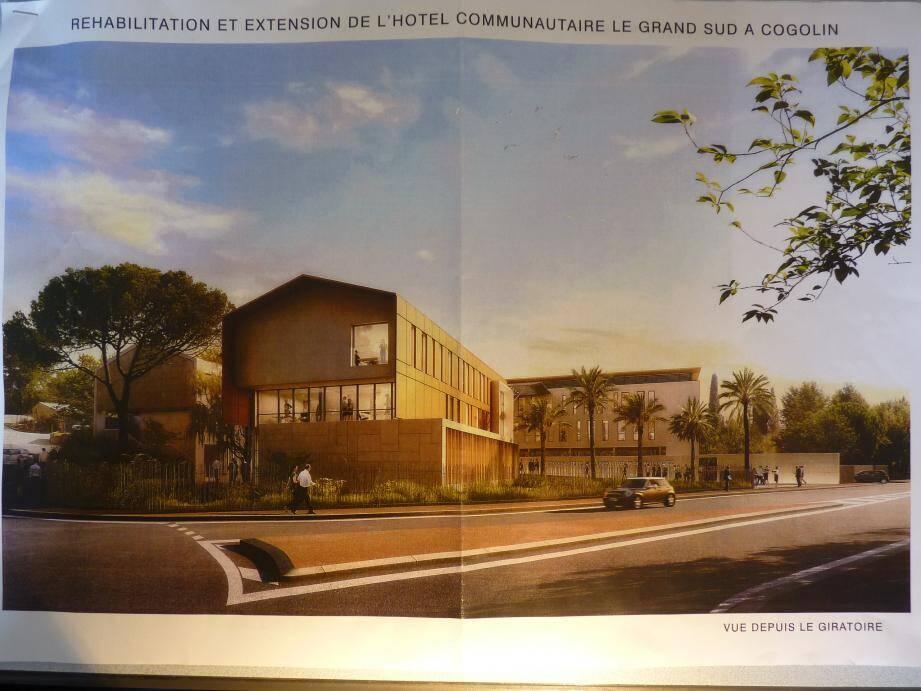 ébauche du projet : l'extension devrait être composée de deux structures, tandis que le bâtiment actuel (tout à gauche sur la photo) sera réhabilité. (Ph. S. Ch. et DR)