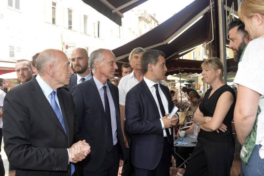 Gérard Collomb, Loïc Dombreval et Gérald Darmanin, hier en début d'après-midi à Grasse.