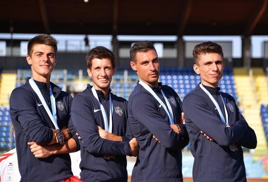 Le bronze pour le relais 4x 400m (Giovanni Molino, Marvin Bouilly, Brice Etes et Teo Andant).