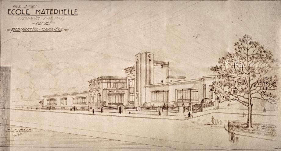 Le projet de construction de l'école maternelle initié par M. Pariset, architecte de la ville d'Antibes : un bâtiment imposant conçu selon le style de l'époque mais qui ne verra jamais sa concrétisation.(Document archives municipales d'Antibes)