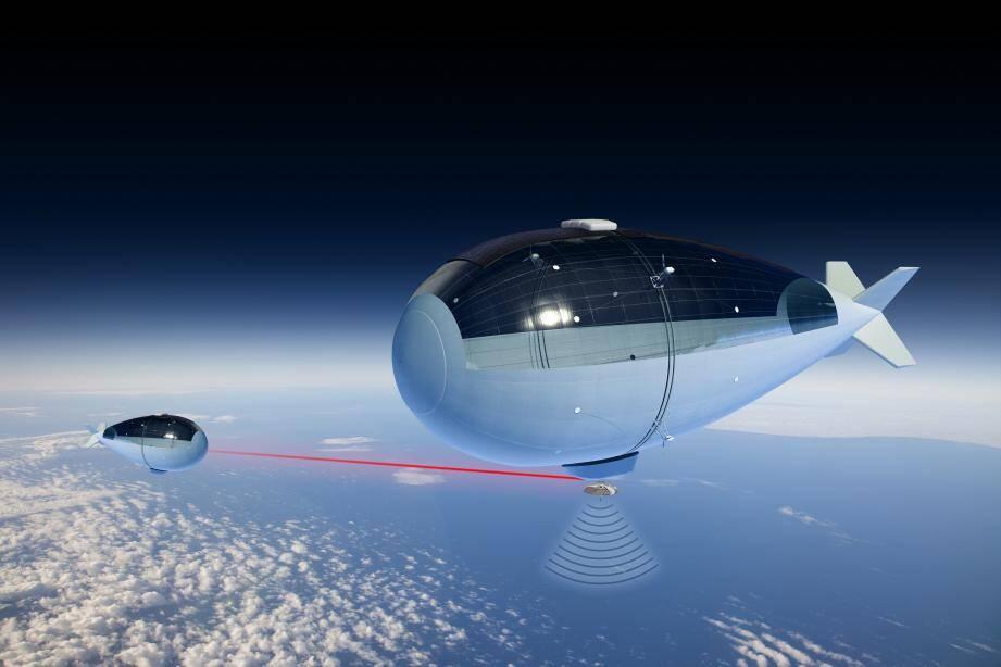 Les dirigeables de Thales Alenia Space en vol stationnaire dans la stratosphère peuvent être mis en réseau pour communiquer entre eux et surveiller de plus grandes zones. (Visuel Thales Alenia Space)