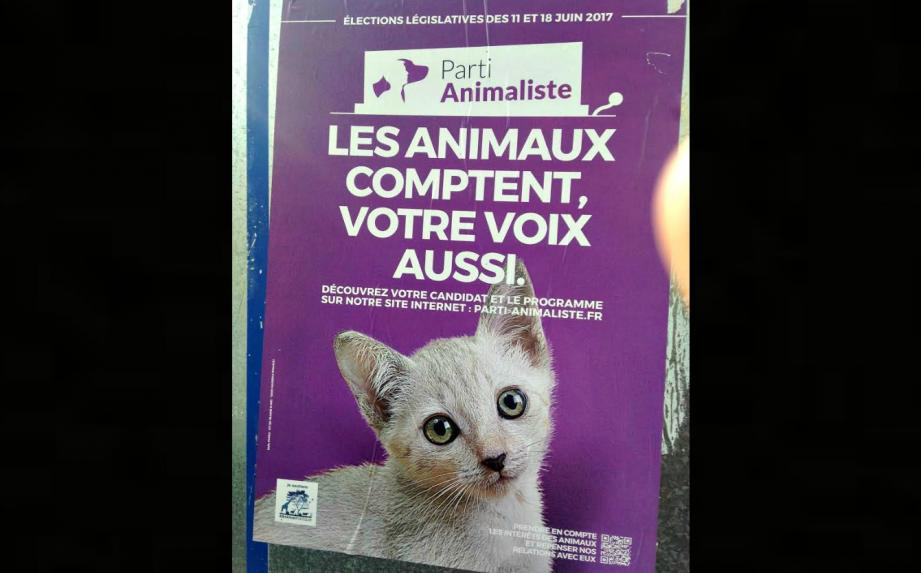 L'affiche du parti animaliste, ici à Nice.