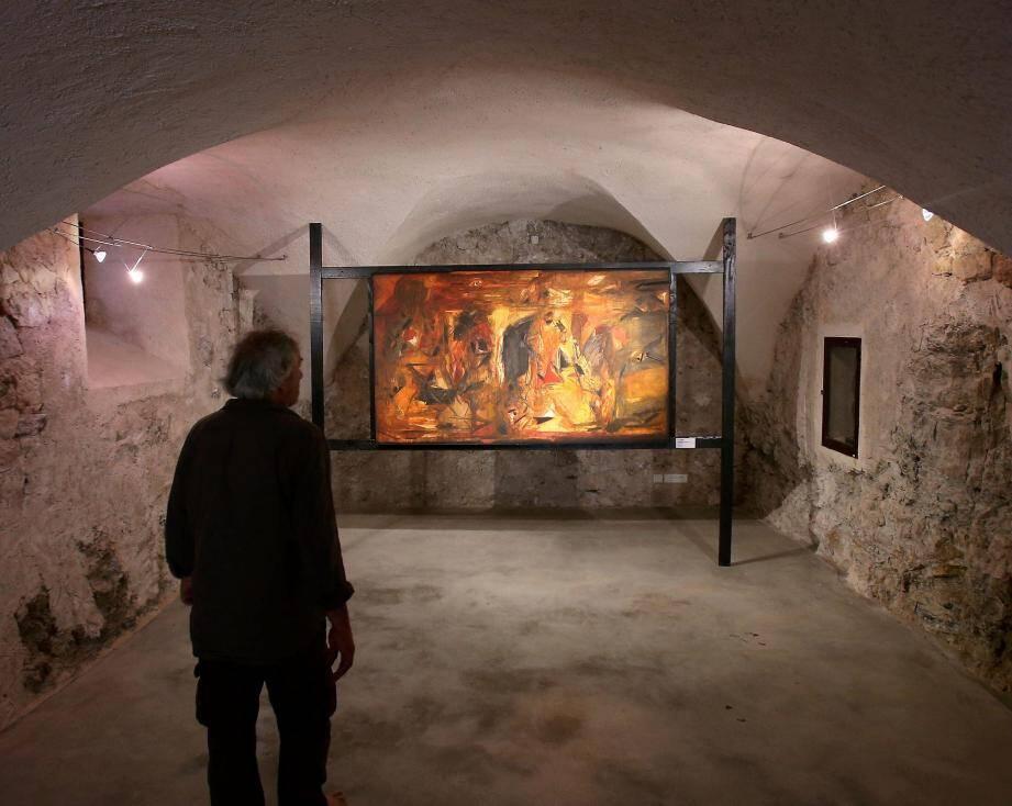 Parmi les œuvres majeures de Raza, les deux toiles exposées sous les voûtes.