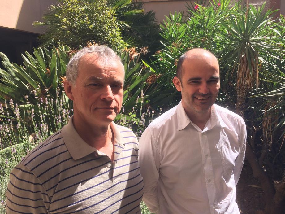 Iurii Viniarskii (à gauche), le président de l'Alliance française d'Irkoutsk en Russie, et Yann Librati, le fondateur de la société niçoise Francophonia.(DR)